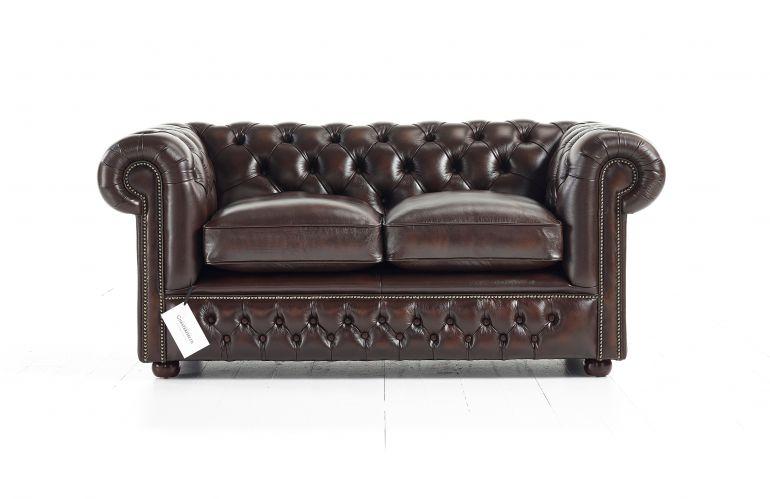 Классический кожаный мини диван Chesterfield
