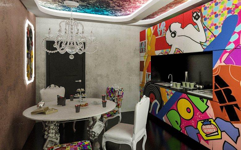 Дизайн проект квартиры в стиле поп арт